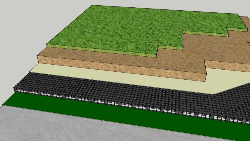 Polypropylene Drainage Cell : แผ่นระบายน้ำ drain grid